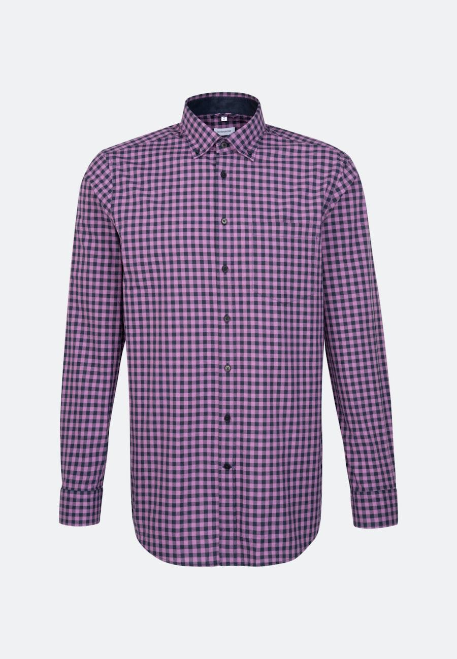 Popeline Business Hemd in Regular mit Button-Down-Kragen in Lila |  Seidensticker Onlineshop