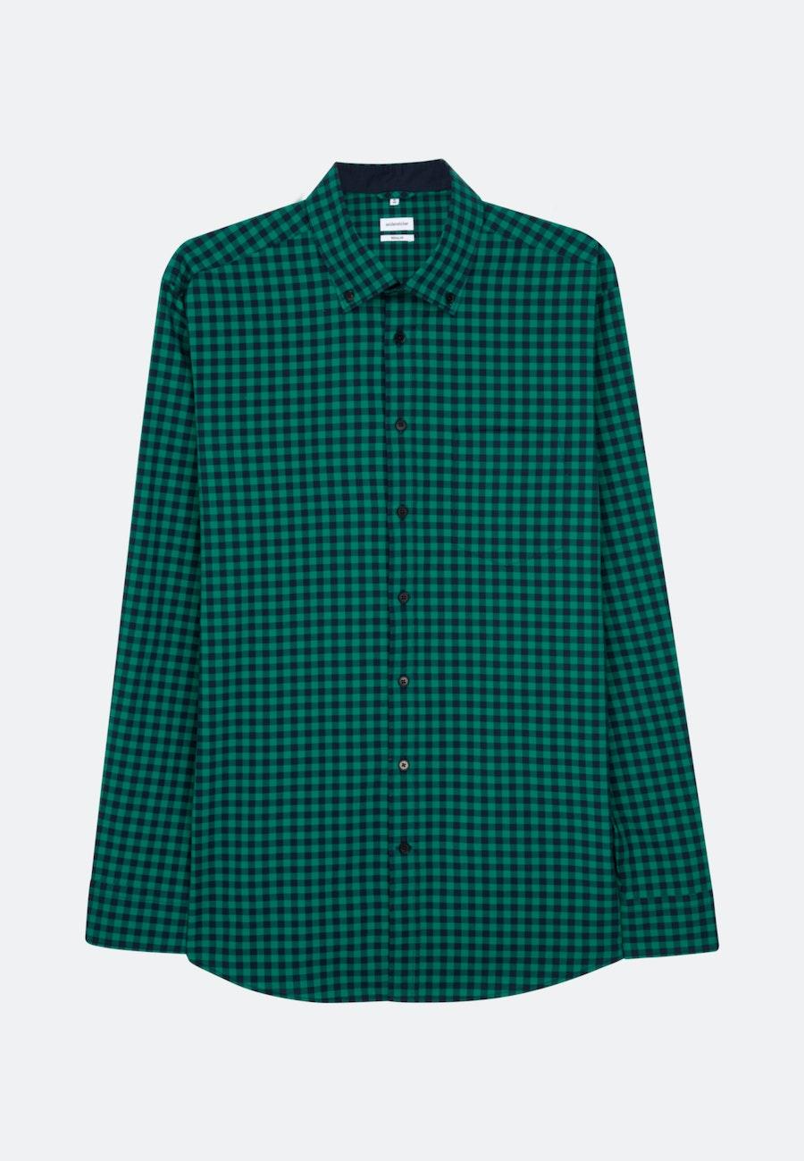 Bügelleichtes Popeline Business Hemd in Regular mit Button-Down-Kragen in Grün |  Seidensticker Onlineshop