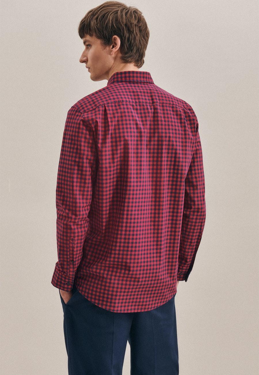 Bügelleichtes Popeline Business Hemd in Regular mit Button-Down-Kragen in Rot    Seidensticker Onlineshop