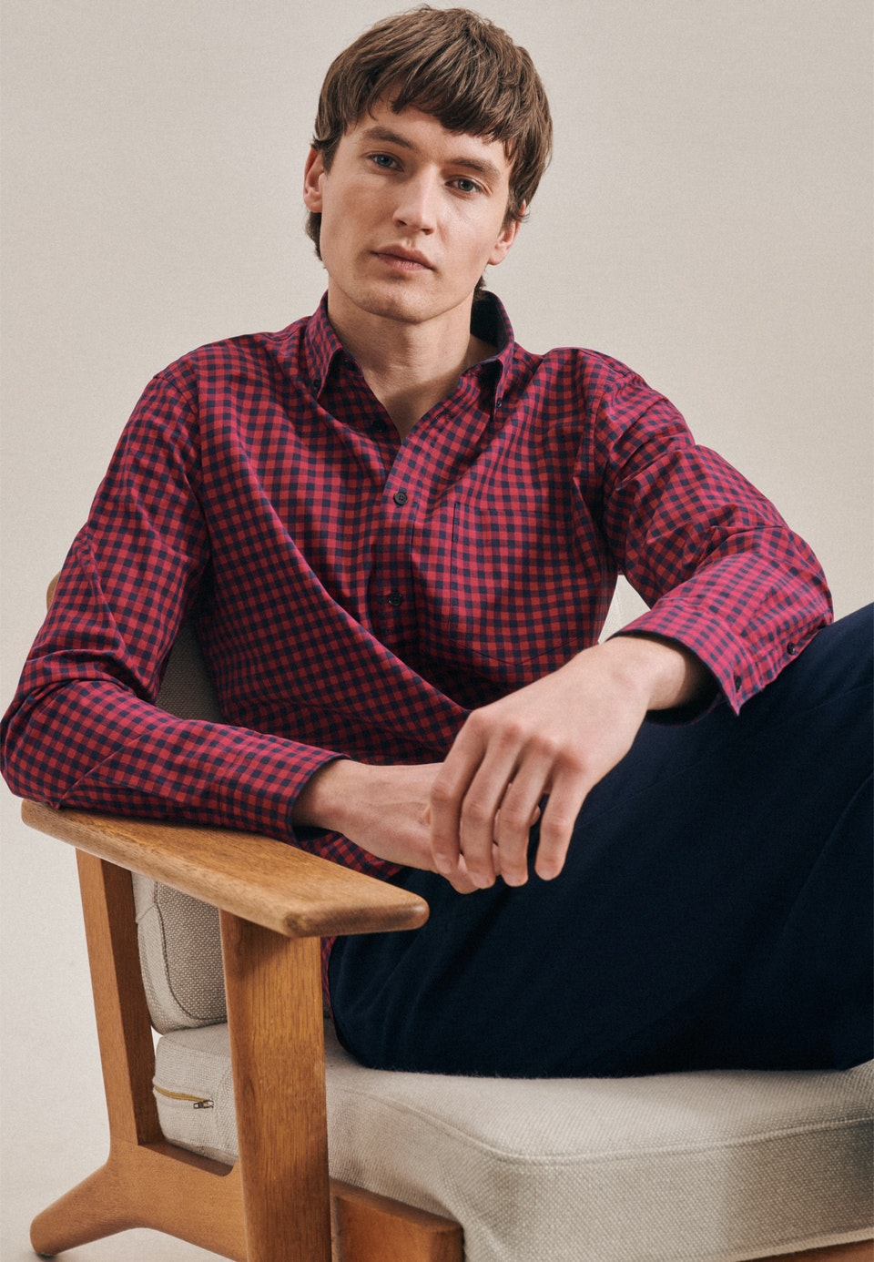 Popeline Business Hemd in Regular mit Button-Down-Kragen in Rot    Seidensticker Onlineshop