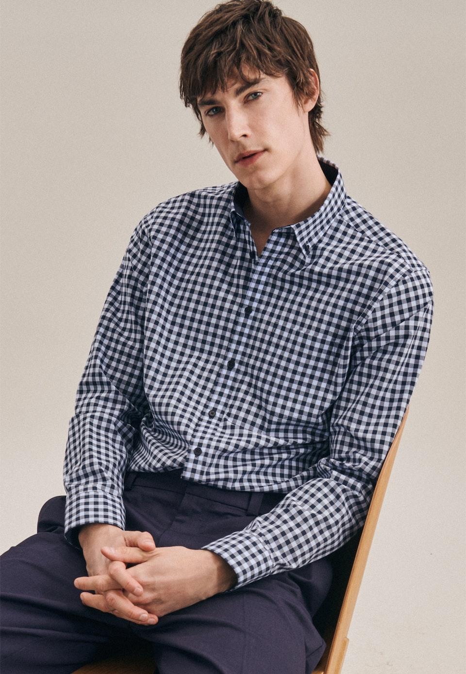 Bügelleichtes Popeline Business Hemd in Regular mit Button-Down-Kragen in Hellblau |  Seidensticker Onlineshop