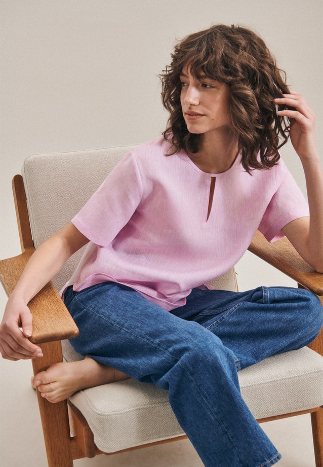 Kurzarm Leinen Shirtbluse aus 100% Leinen in Rosa/Pink |  Seidensticker Onlineshop