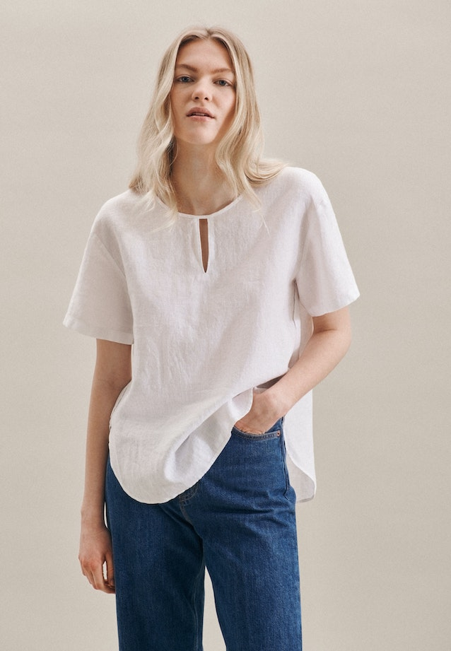 Short sleeve Leinen Shirt Blouse made of 100% Linen in White |  Seidensticker Onlineshop
