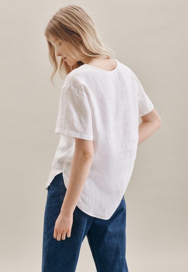 Short sleeve Leinen Shirt Blouse made of 100% Linen in White |  Seidensticker Onlineshop
