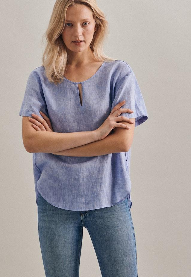 Short sleeve Leinen Shirt Blouse made of 100% Linen in Dark blue |  Seidensticker Onlineshop