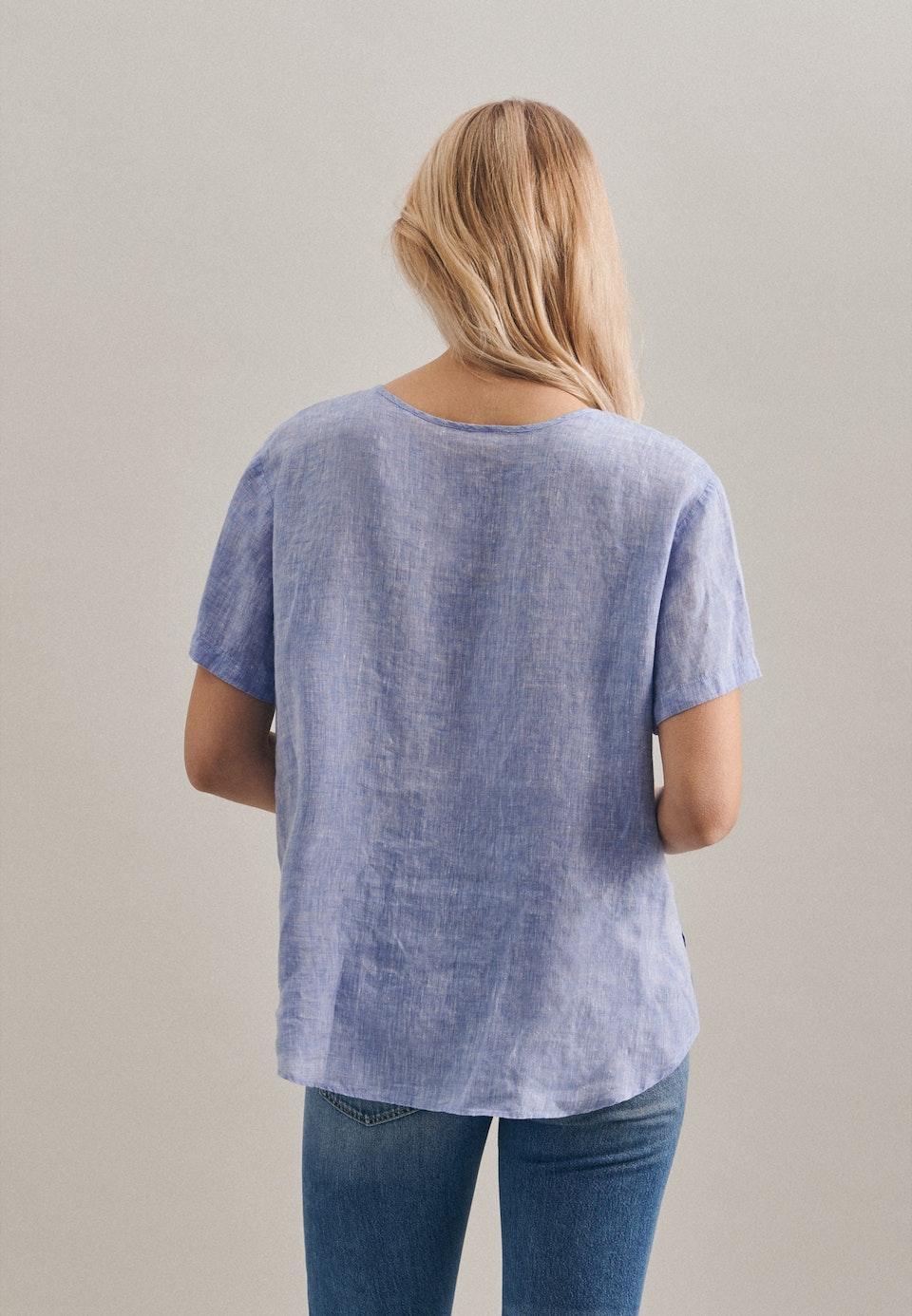 Short sleeve Leinen Shirt Blouse made of 100% Linen in Dark blue    Seidensticker Onlineshop