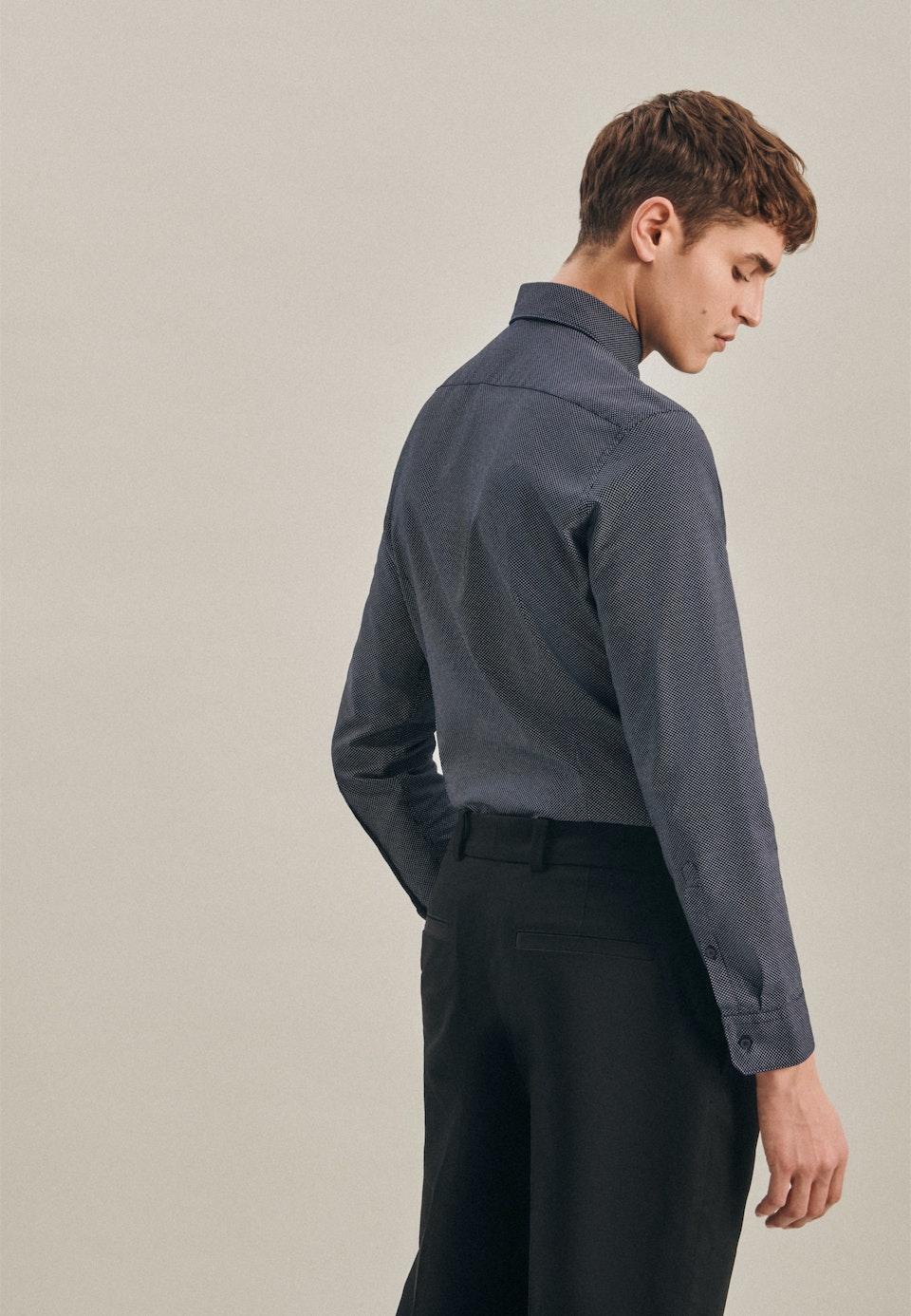 Oxfordhemd in Shaped mit Kentkragen in Dunkelblau    Seidensticker Onlineshop