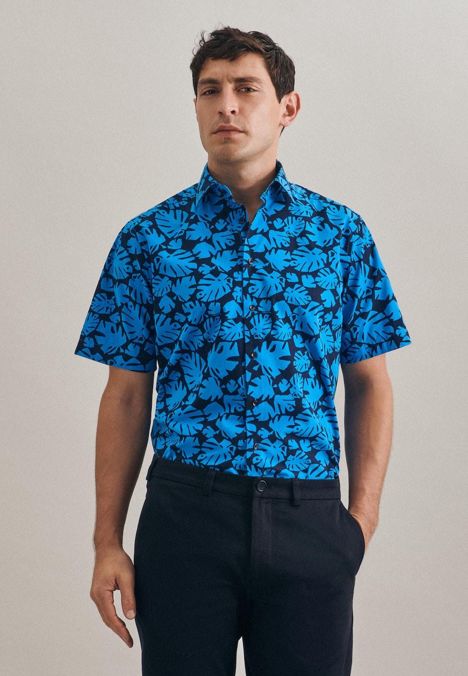 Easy-iron Poplin Short sleeve Business Shirt in Regular with Kent-Collar in Turquoise |  Seidensticker Onlineshop