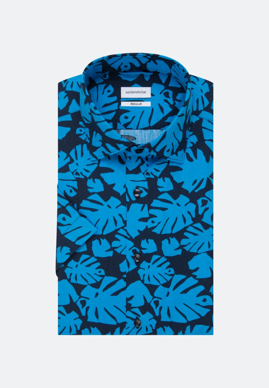 Easy-iron Popeline Short sleeve Business Shirt in Regular with Kent-Collar in Turquoise |  Seidensticker Onlineshop