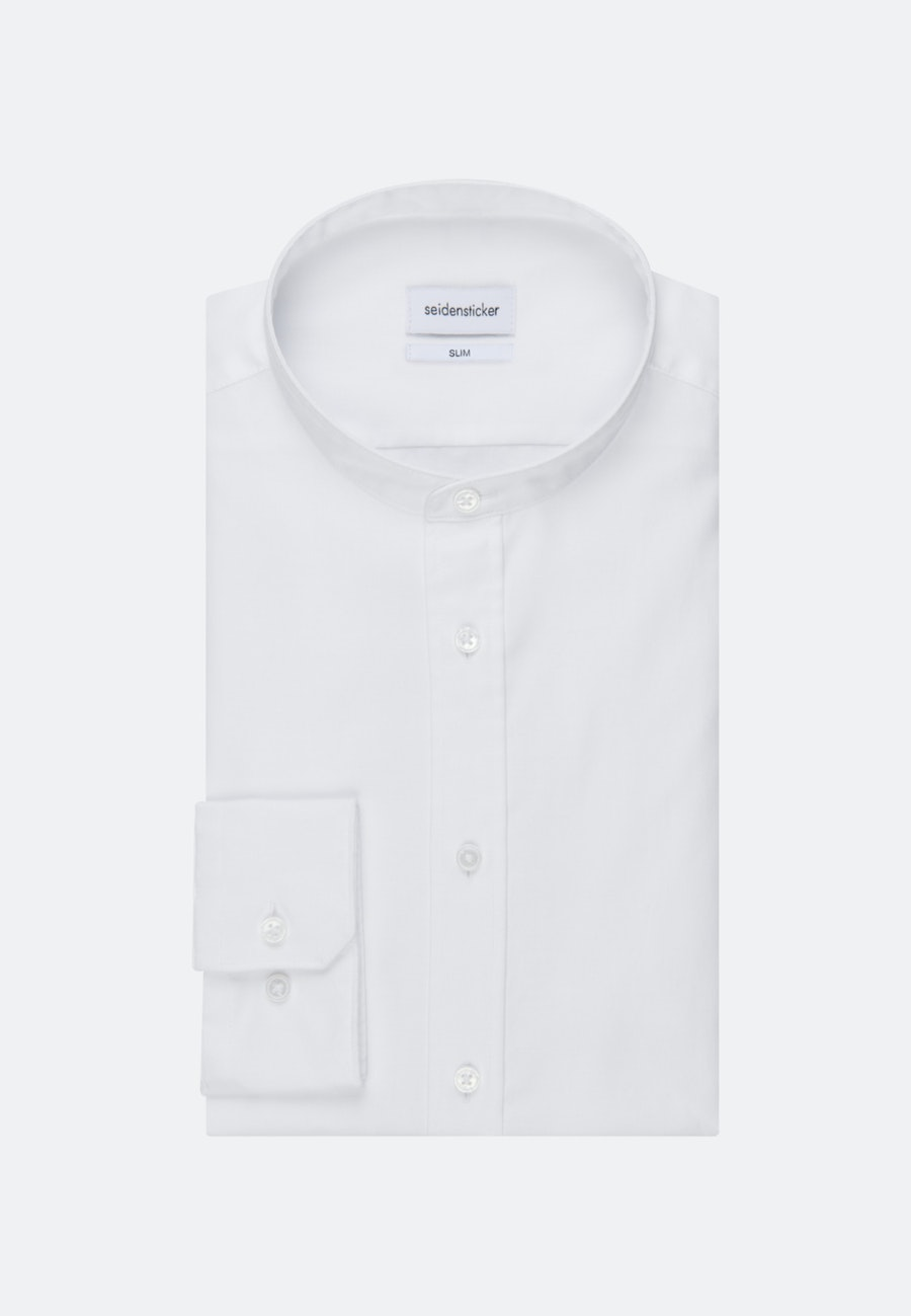 Non-iron Twill Business Shirt in Slim with Stand-Up Collar in White |  Seidensticker Onlineshop