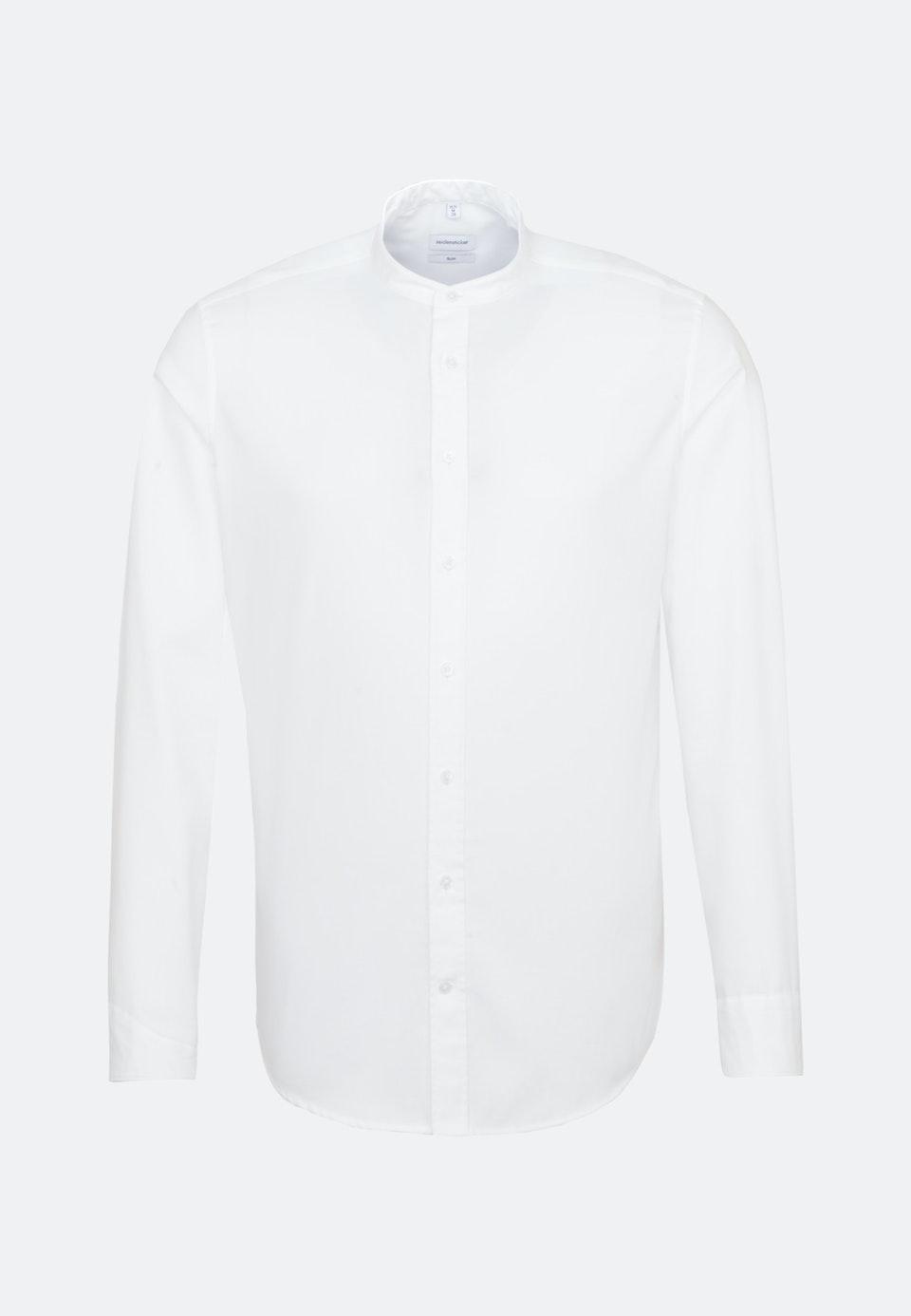 Bügelfreies Twill Business Hemd in Slim mit Stehkragen in Weiß    Seidensticker Onlineshop