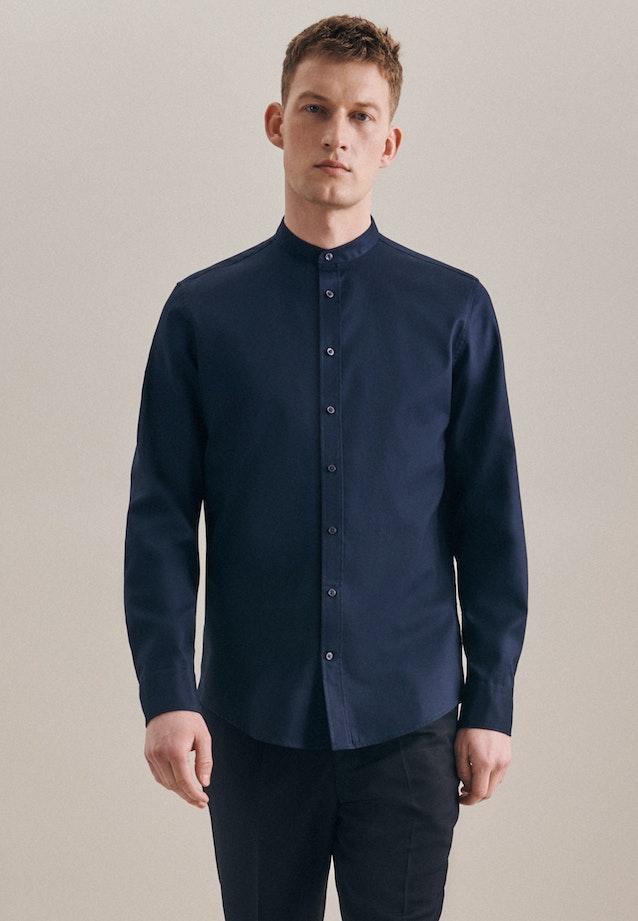 Non-iron Twill Business Shirt in Slim with Stand-Up Collar in Dark blue    Seidensticker Onlineshop