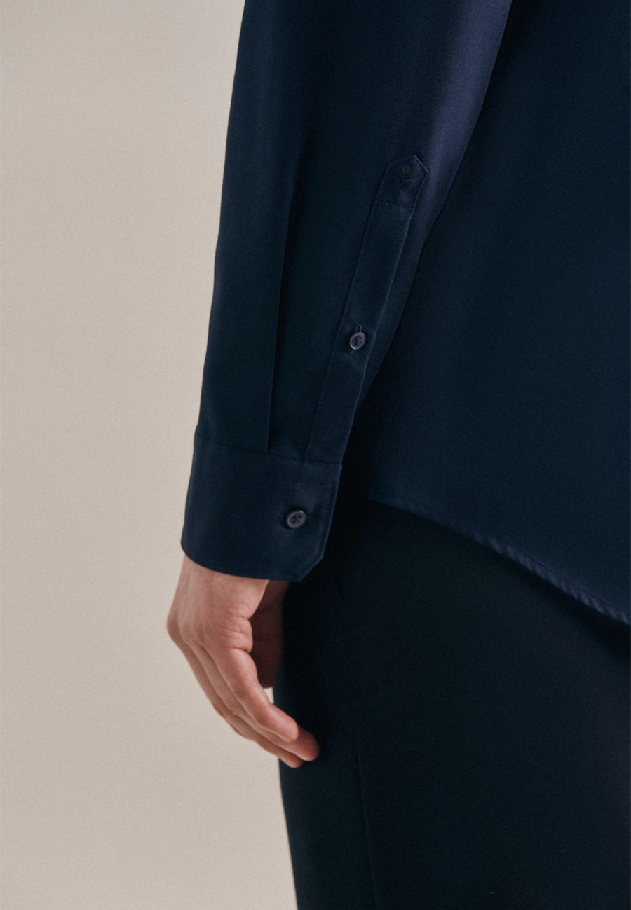 Non-iron Twill Business Shirt in Slim with Stand-Up Collar in Dark blue |  Seidensticker Onlineshop