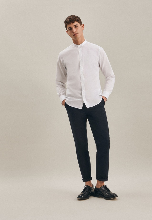 Non-iron Twill Business Shirt in Shaped with Stand-Up Collar in White    Seidensticker Onlineshop