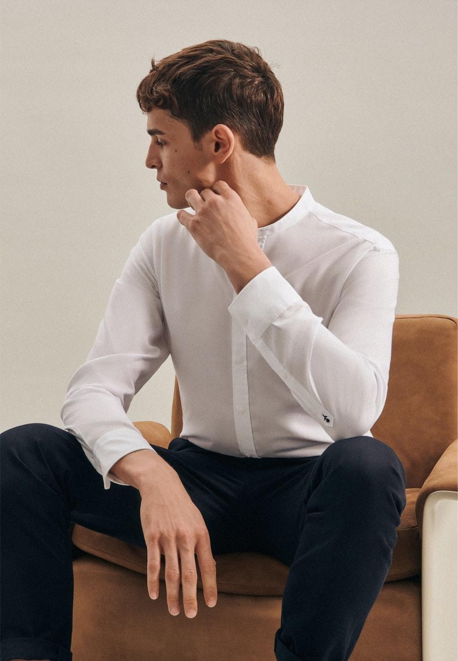 Bügelfreies Twill Business Hemd in Shaped mit Stehkragen in Weiß    Seidensticker Onlineshop
