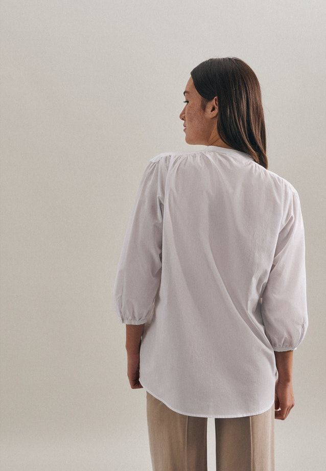3/4 sleeve Voile Stand-Up Blouse aus 100% Cotton in White |  Seidensticker Onlineshop