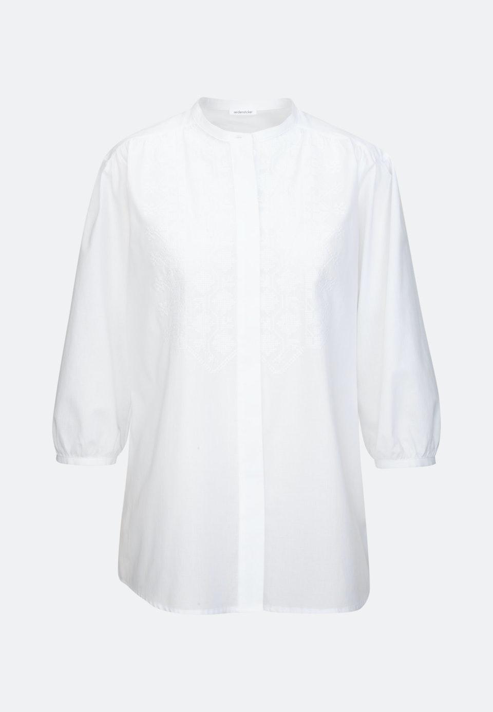 3/4 sleeve Voile Stand-Up Blouse aus 100% Cotton in White |  Seidensticker Onlineshop