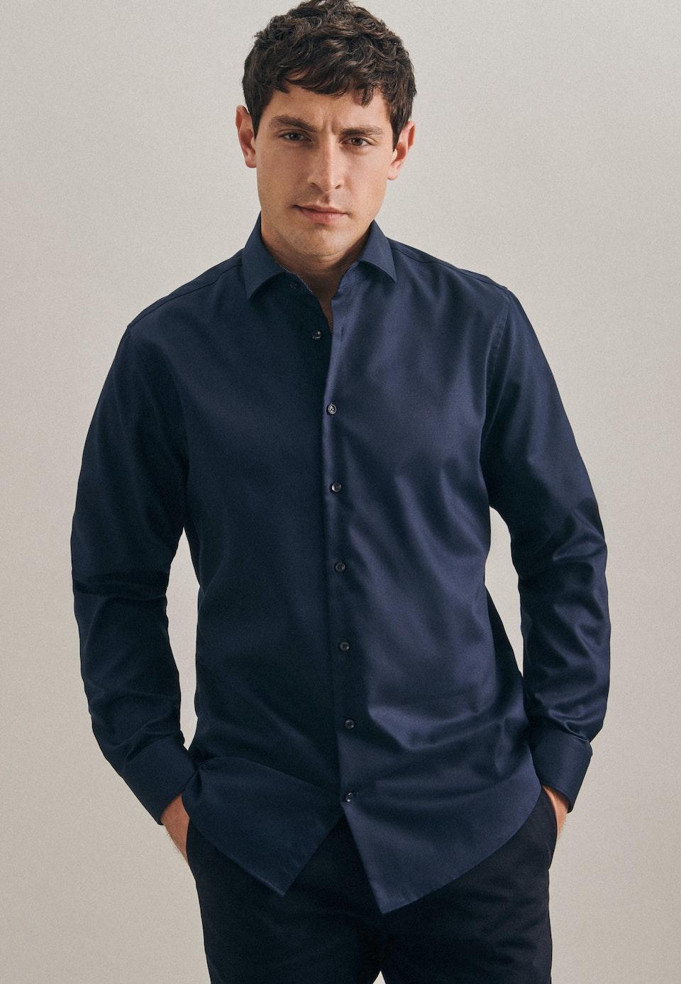 Non-iron Twill Business Shirt in Shaped with Kent-Collar in Dark blue    Seidensticker Onlineshop