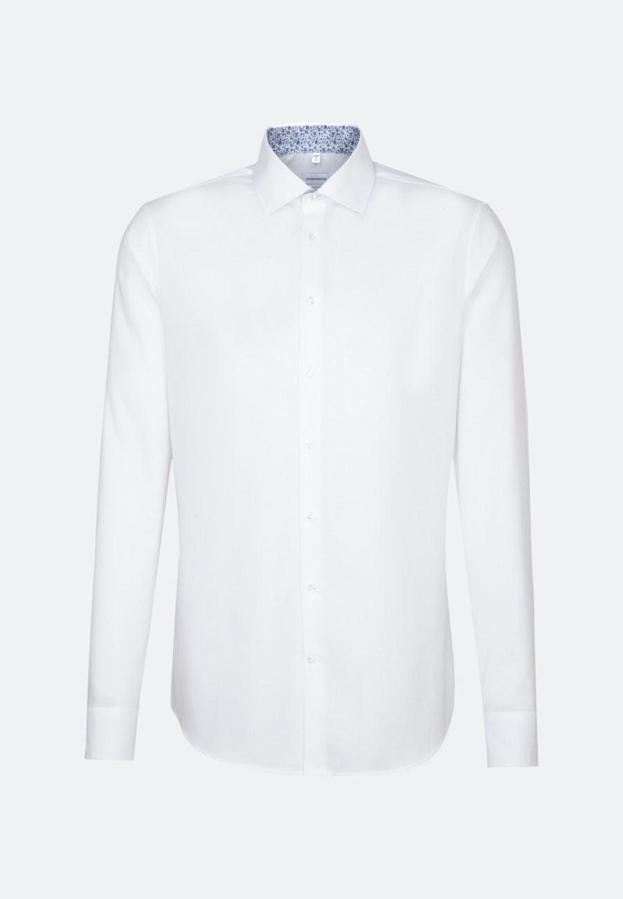 Bügelfreies Oxford Business Hemd in Shaped mit Kentkragen und extra langem Arm in Weiß    Seidensticker Onlineshop
