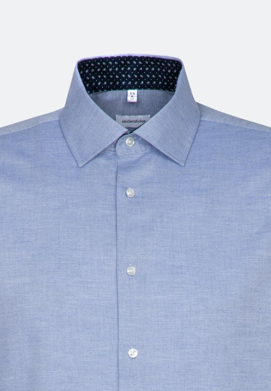 Bügelleichtes Twill Business Hemd in Shaped mit Kentkragen und extra langem Arm in Hellblau |  Seidensticker Onlineshop