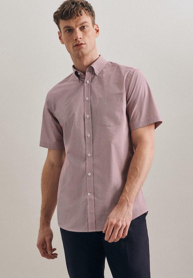 Non-iron Popeline Short sleeve Business Shirt in Regular with Button-Down-Collar in Red |  Seidensticker Onlineshop