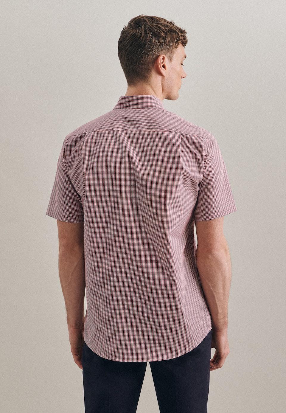 Non-iron Popeline Short sleeve Business Shirt in Regular with Button-Down-Collar in Red    Seidensticker Onlineshop