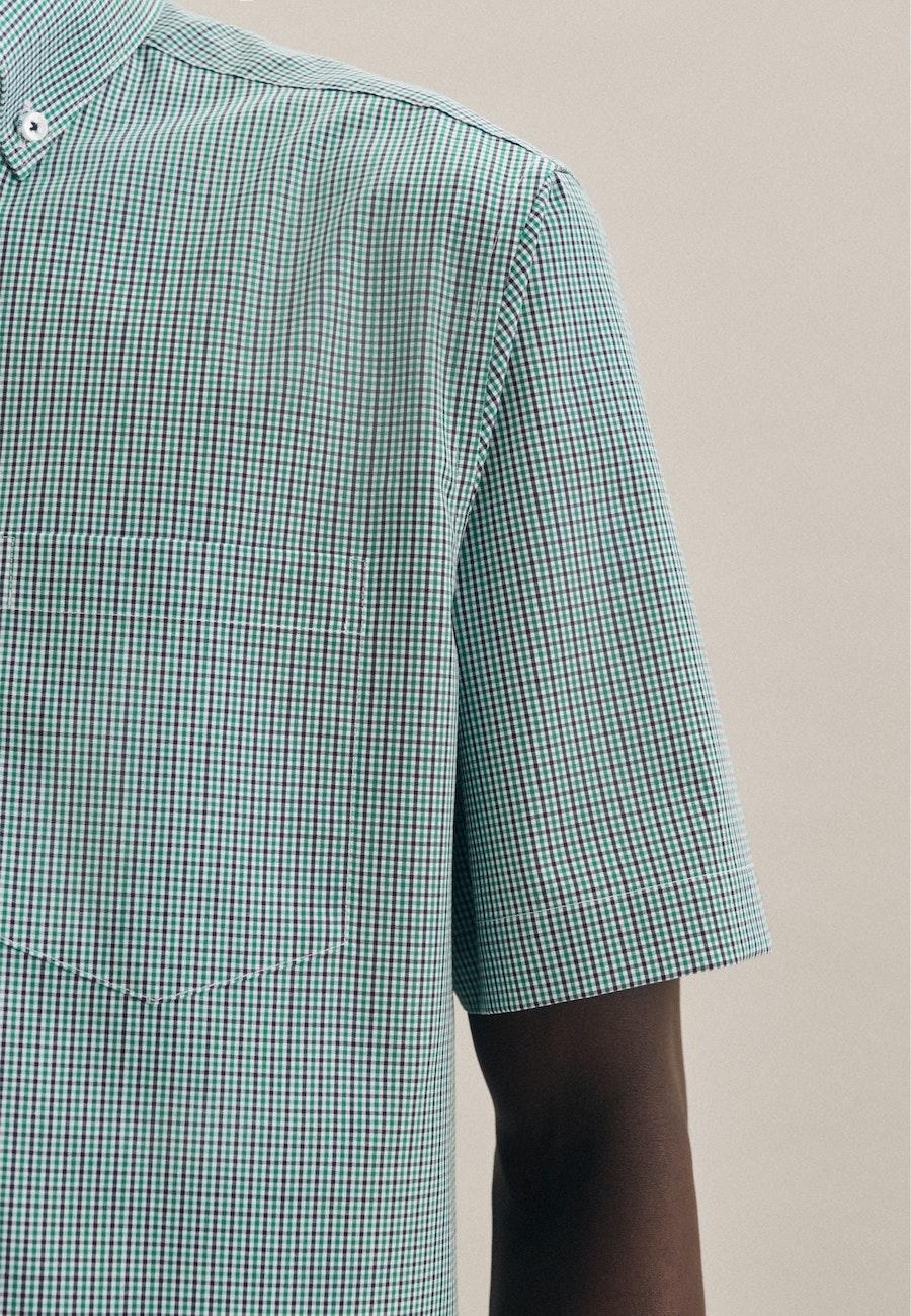 Bügelfreies Popeline Kurzarm Business Hemd in Regular mit Button-Down-Kragen in Grün    Seidensticker Onlineshop