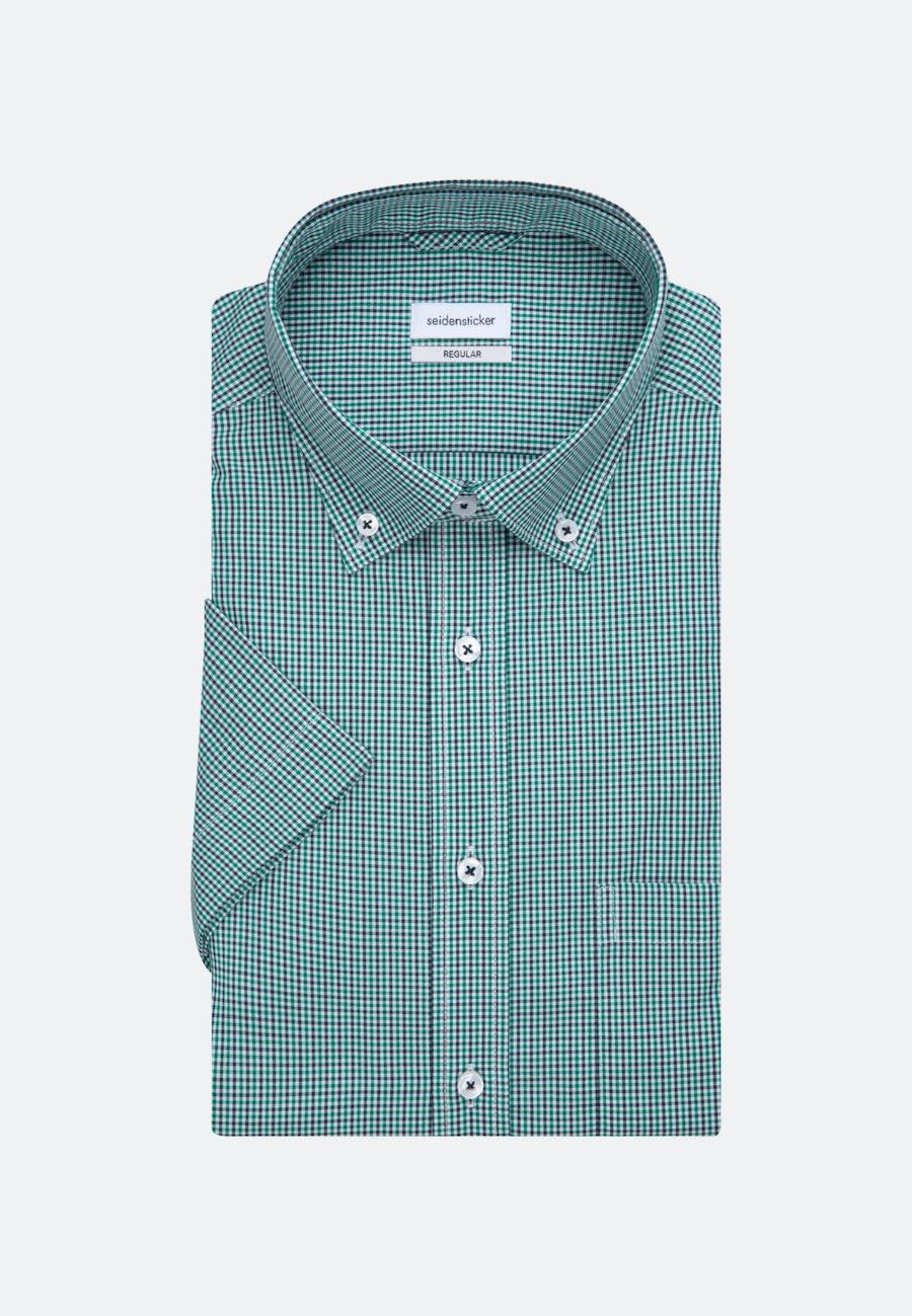 Bügelfreies Popeline Kurzarm Business Hemd in Regular mit Button-Down-Kragen in Grün |  Seidensticker Onlineshop