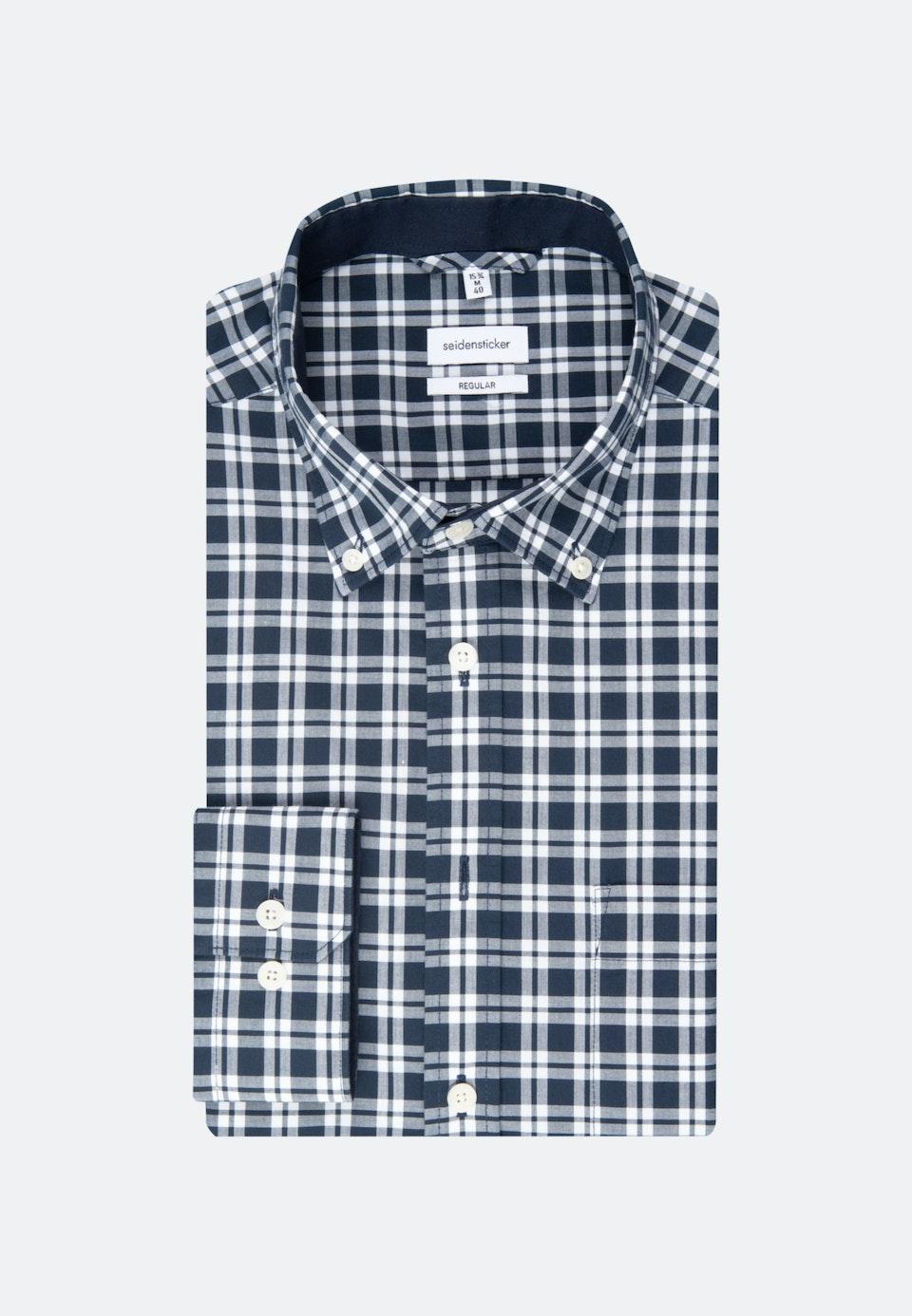 Easy-iron Popeline Business Shirt in Regular with Button-Down-Collar in Dark blue |  Seidensticker Onlineshop