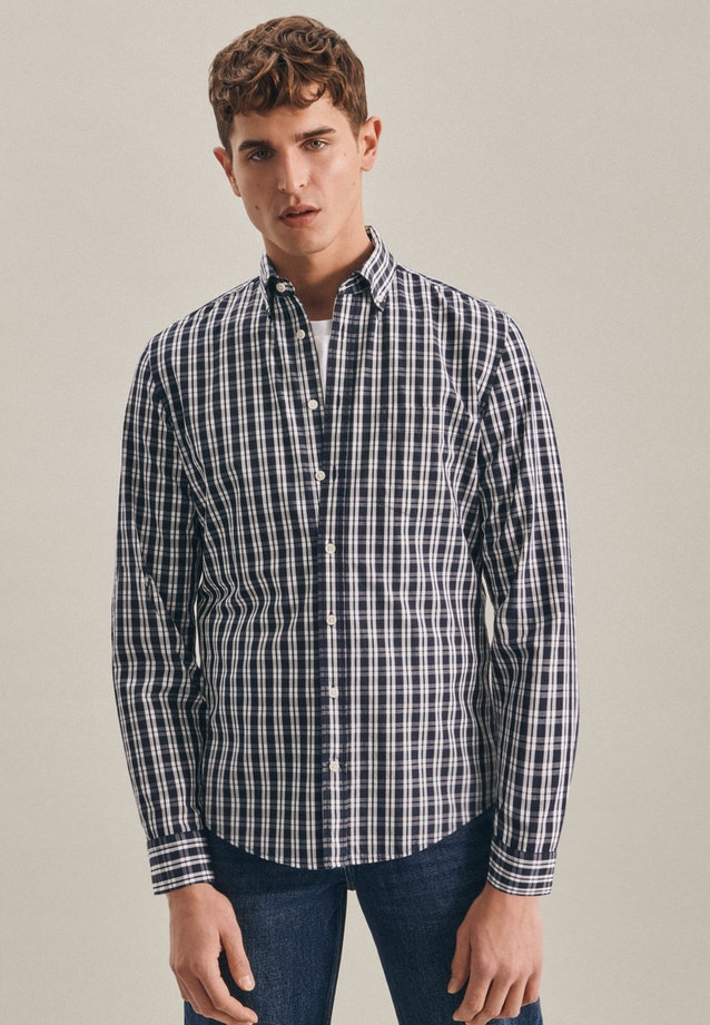 Popeline Business Hemd in Slim mit Button-Down-Kragen in Dunkelblau |  Seidensticker Onlineshop