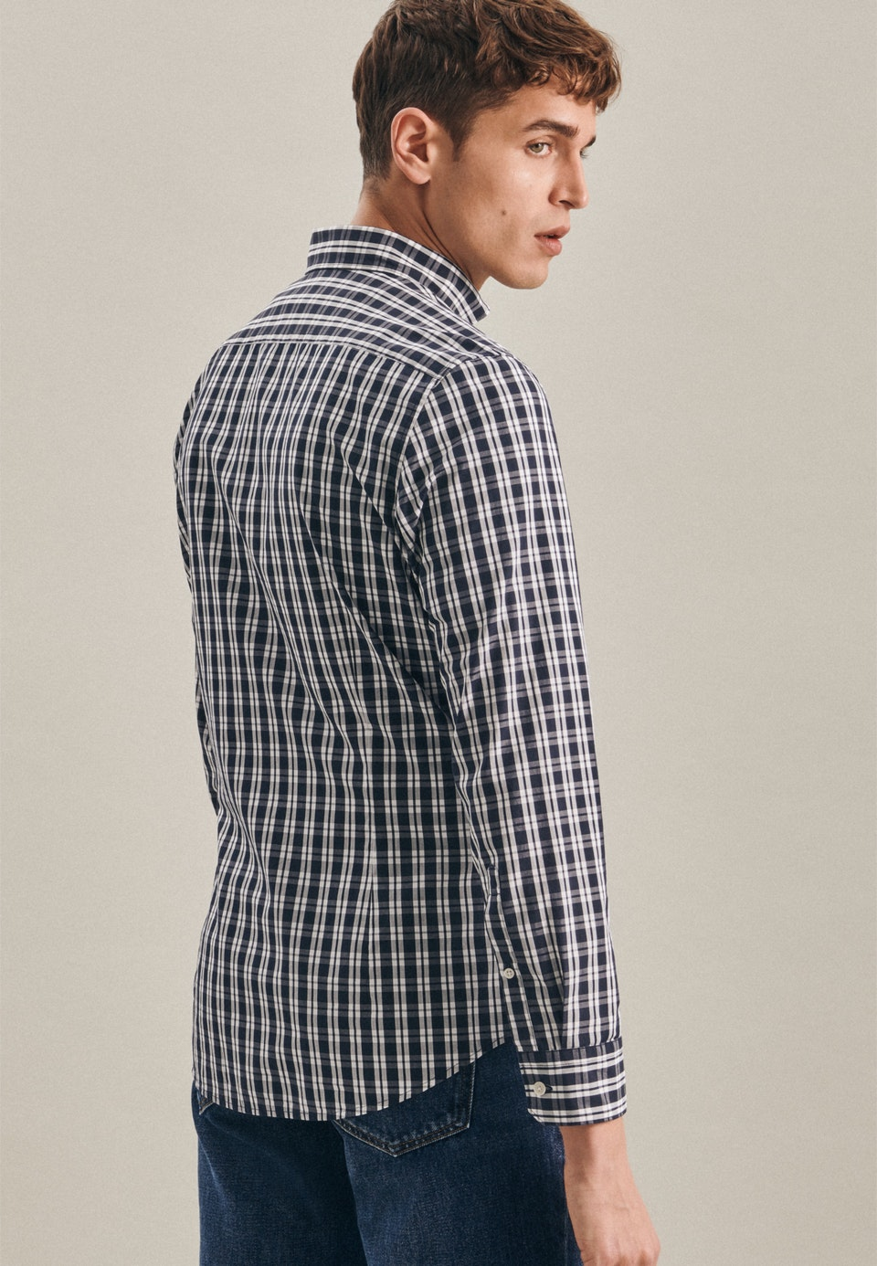 Easy-iron Popeline Business Shirt in Slim with Button-Down-Collar in Dark blue |  Seidensticker Onlineshop