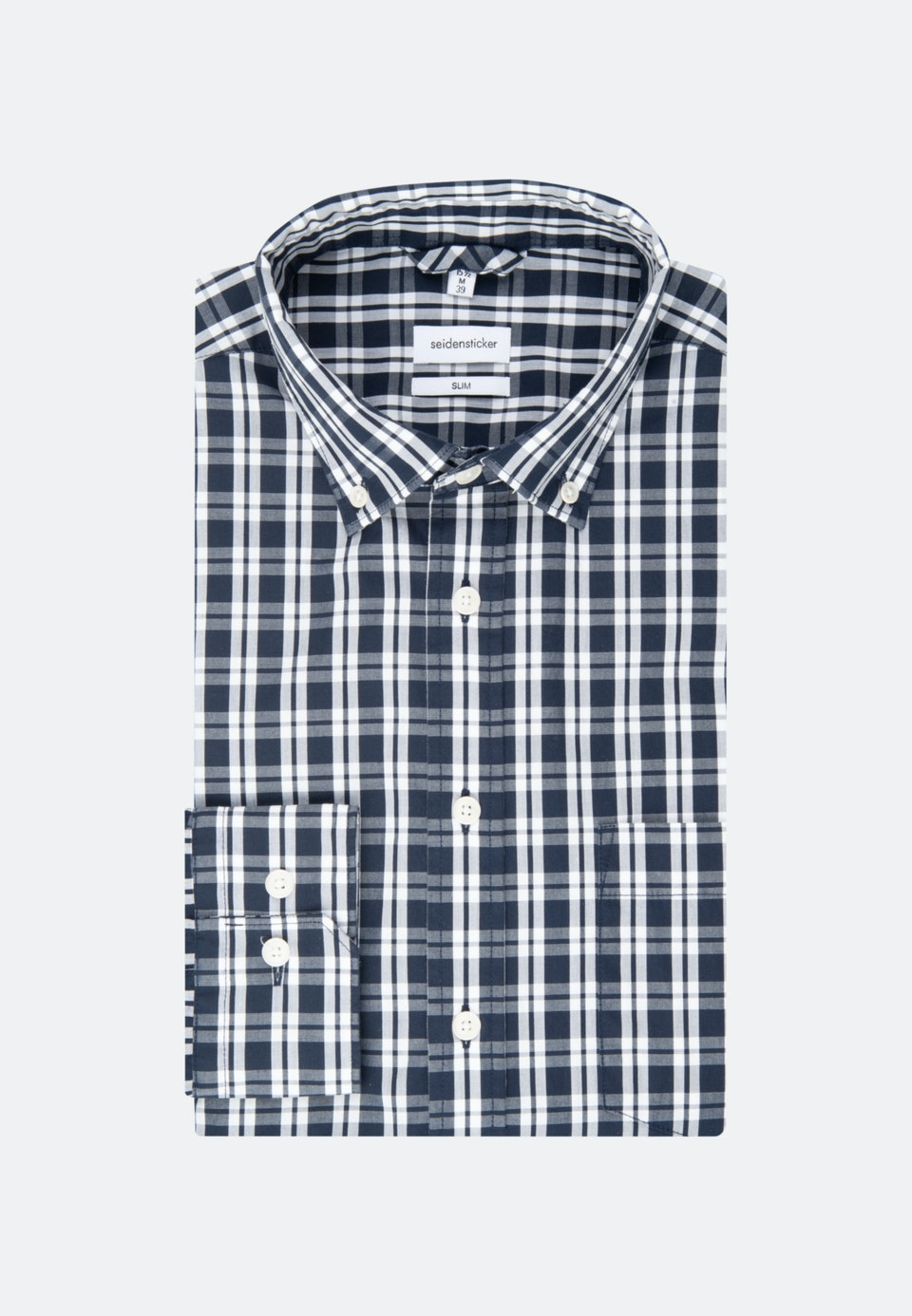 Bügelleichtes Popeline Business Hemd in Slim mit Button-Down-Kragen in Dunkelblau |  Seidensticker Onlineshop