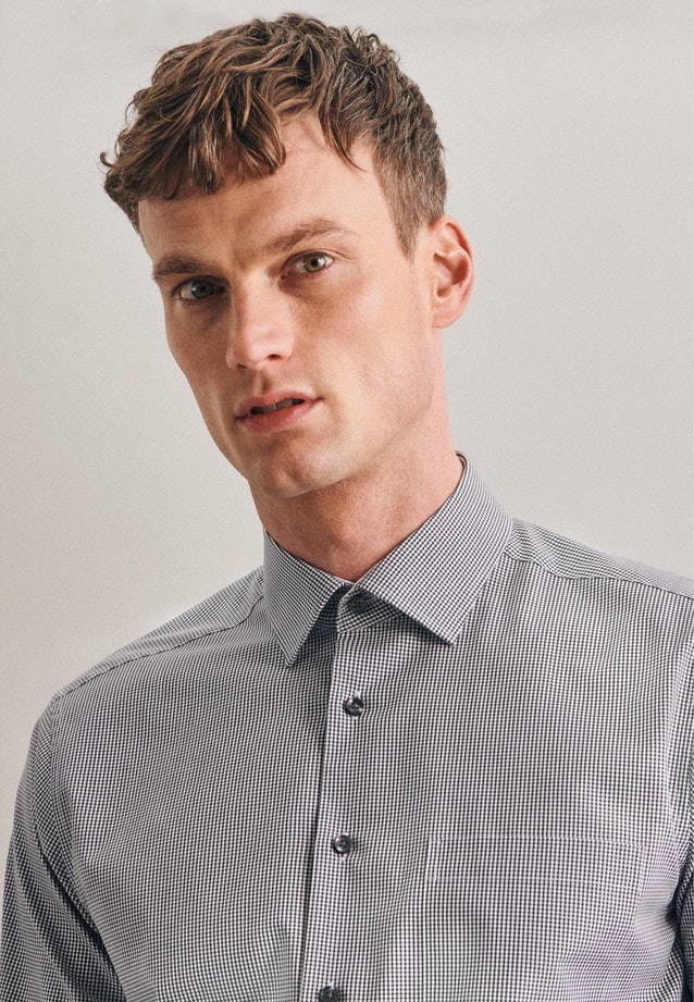 Bügelfreies Popeline Business Hemd in Regular mit Kentkragen in Grau |  Seidensticker Onlineshop