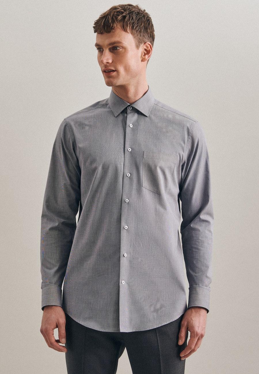 Non-iron Struktur Business Shirt in Regular with Kent-Collar in Dark blue |  Seidensticker Onlineshop
