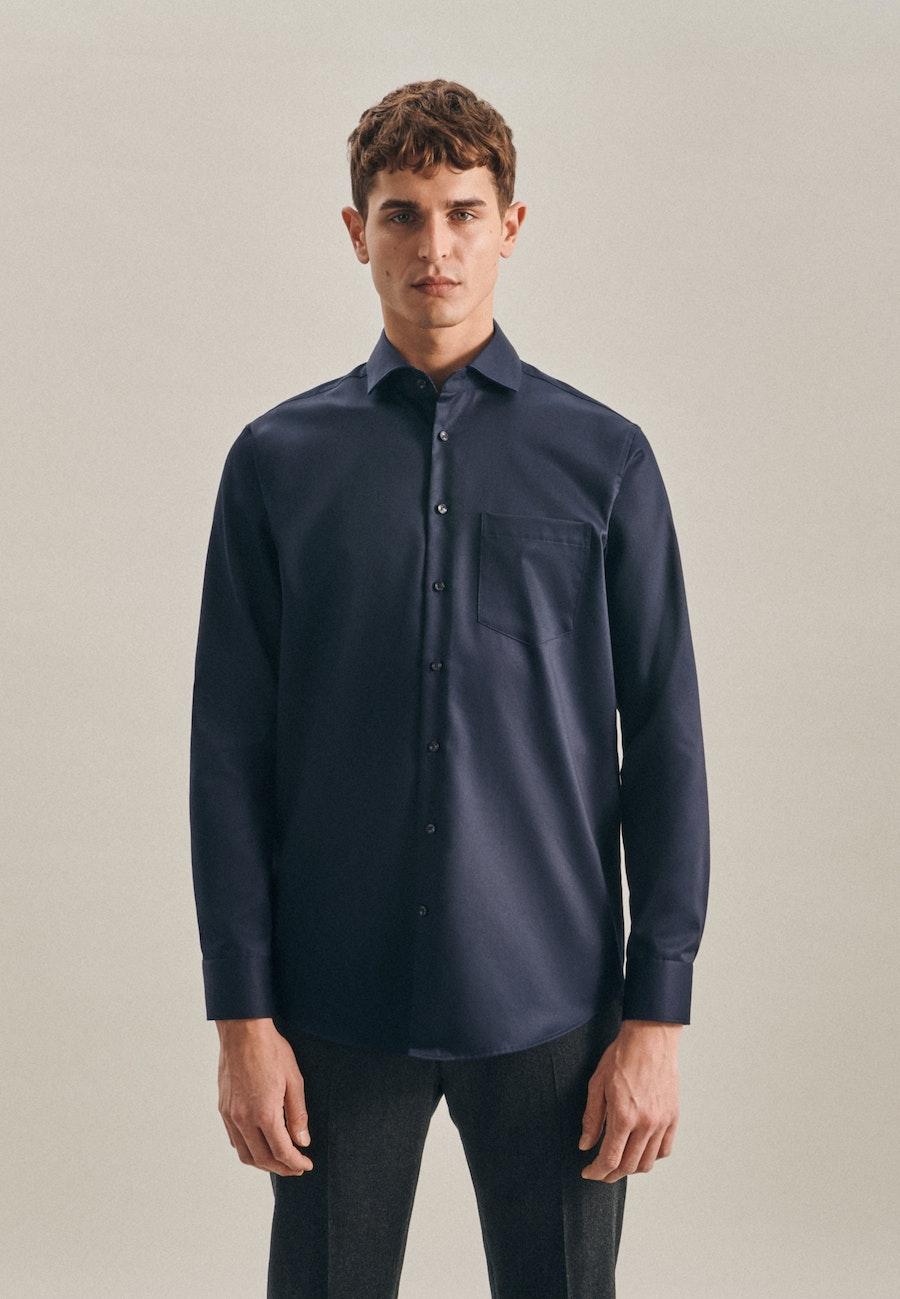 Non-iron Twill Business Shirt in Regular with Kent-Collar in Dark blue |  Seidensticker Onlineshop