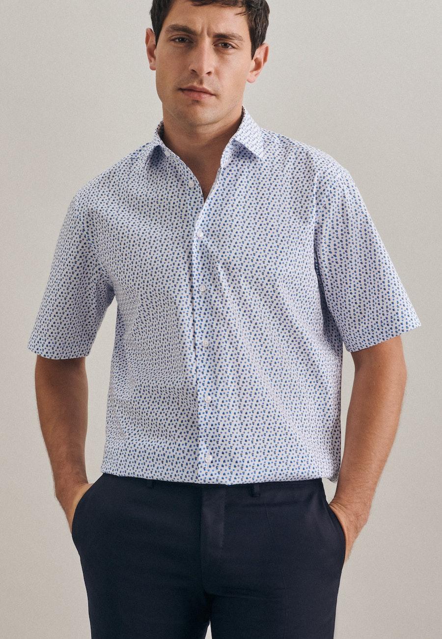 Easy-iron Popeline Short sleeve Business Shirt in Regular with Kent-Collar in Turquoise |  Seidensticker Onlineshop