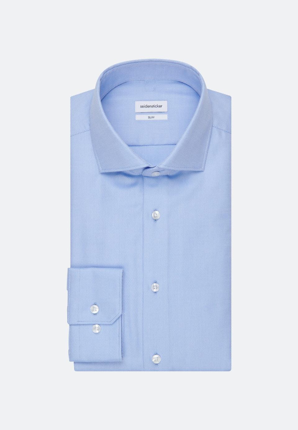 Bügelleichtes Struktur Business Hemd in Slim mit Kentkragen in Hellblau |  Seidensticker Onlineshop
