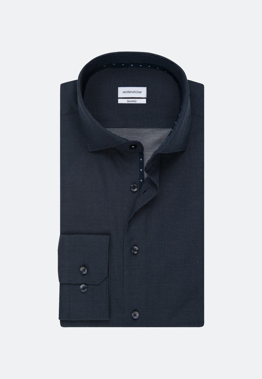 Non-iron Dobby Business Shirt in Shaped with Kent-Collar in Dark blue |  Seidensticker Onlineshop