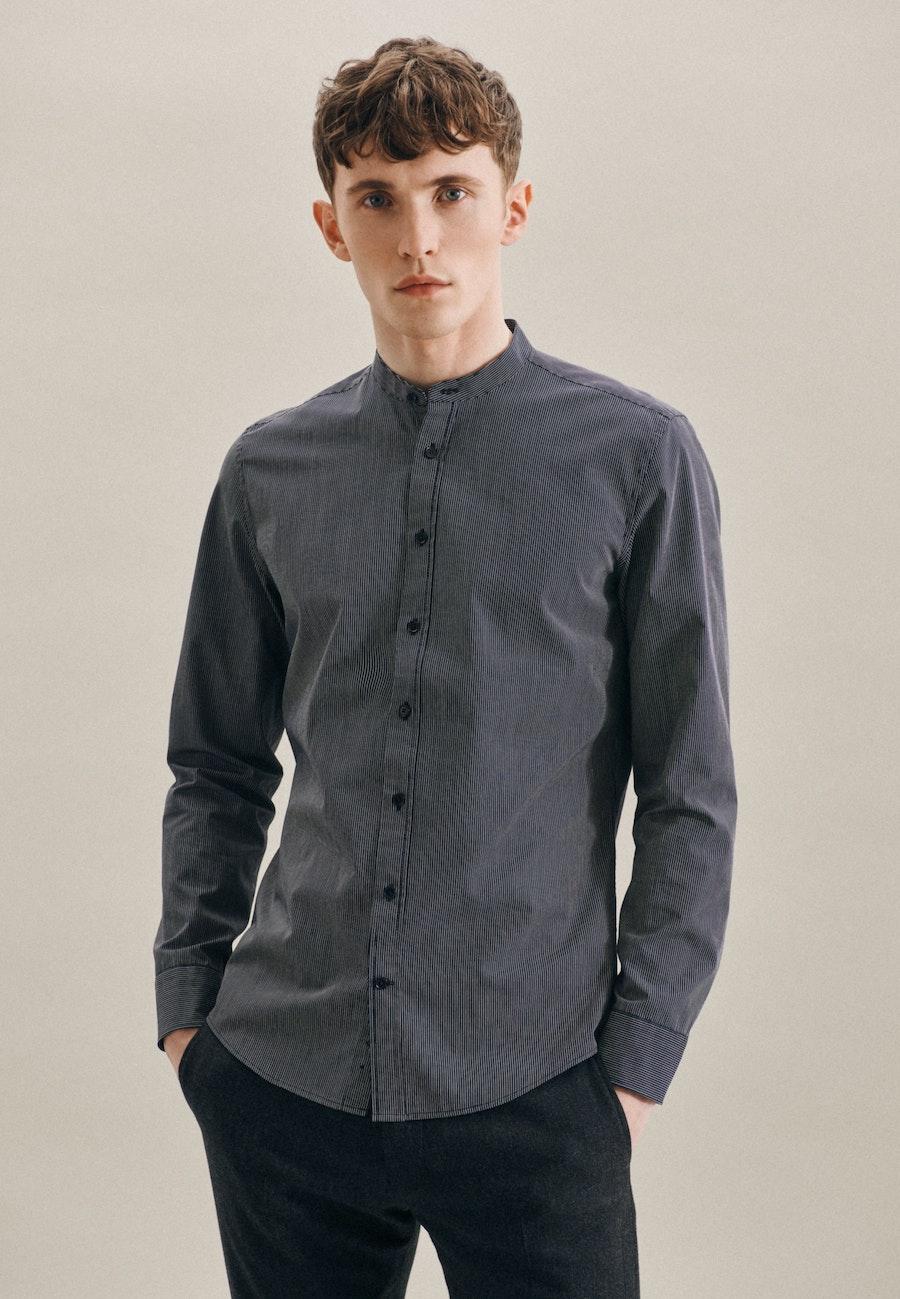 Easy-iron Popeline Business Shirt in Slim with Stand-Up Collar in Dark blue |  Seidensticker Onlineshop