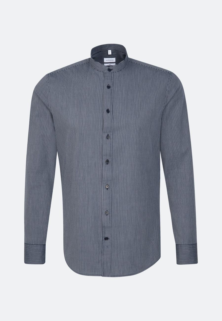 Bügelleichtes Popeline Business Hemd in Slim mit Stehkragen in Dunkelblau    Seidensticker Onlineshop