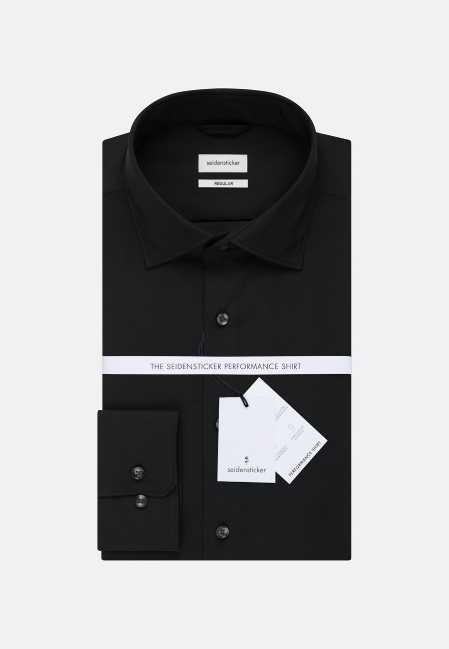 Twill Business Hemd in Regular mit Kentkragen in Schwarz |  Seidensticker Onlineshop