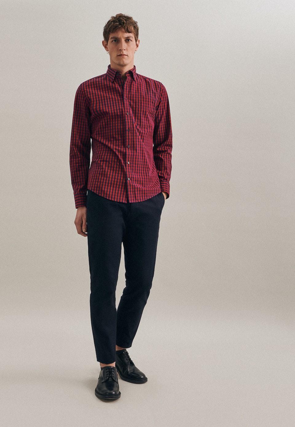 Poplin Business Shirt in Shaped with Button-Down-Collar in Red |  Seidensticker Onlineshop