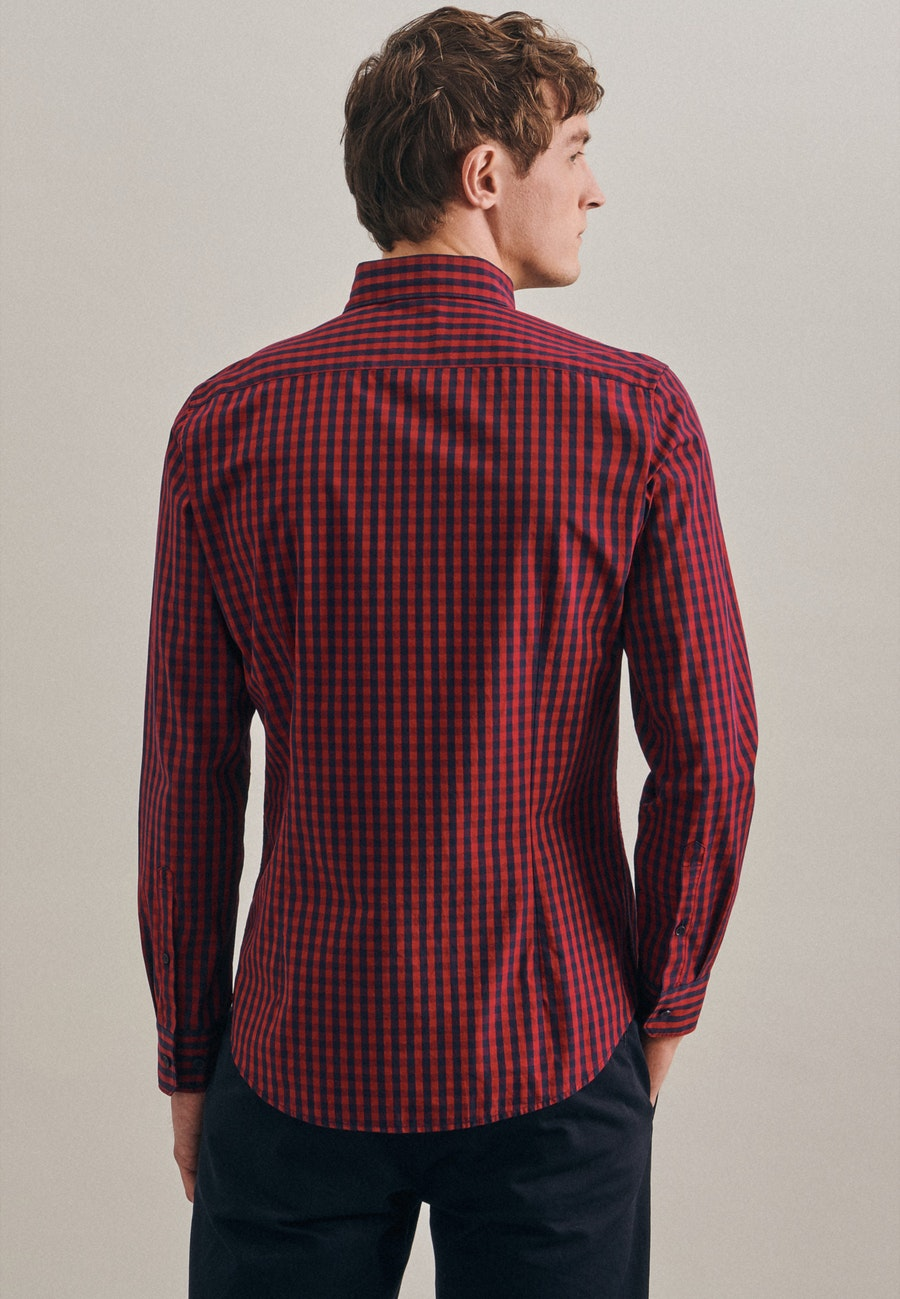 Easy-iron Popeline Business Shirt in Shaped with Button-Down-Collar in Red |  Seidensticker Onlineshop