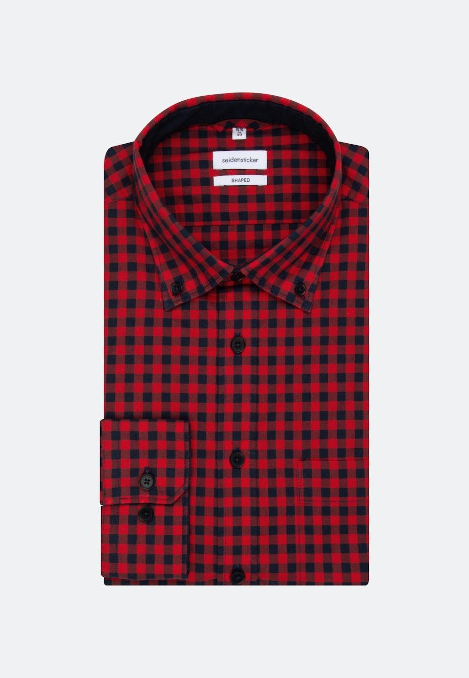 Bügelleichtes Popeline Business Hemd in Shaped mit Button-Down-Kragen in Rot |  Seidensticker Onlineshop