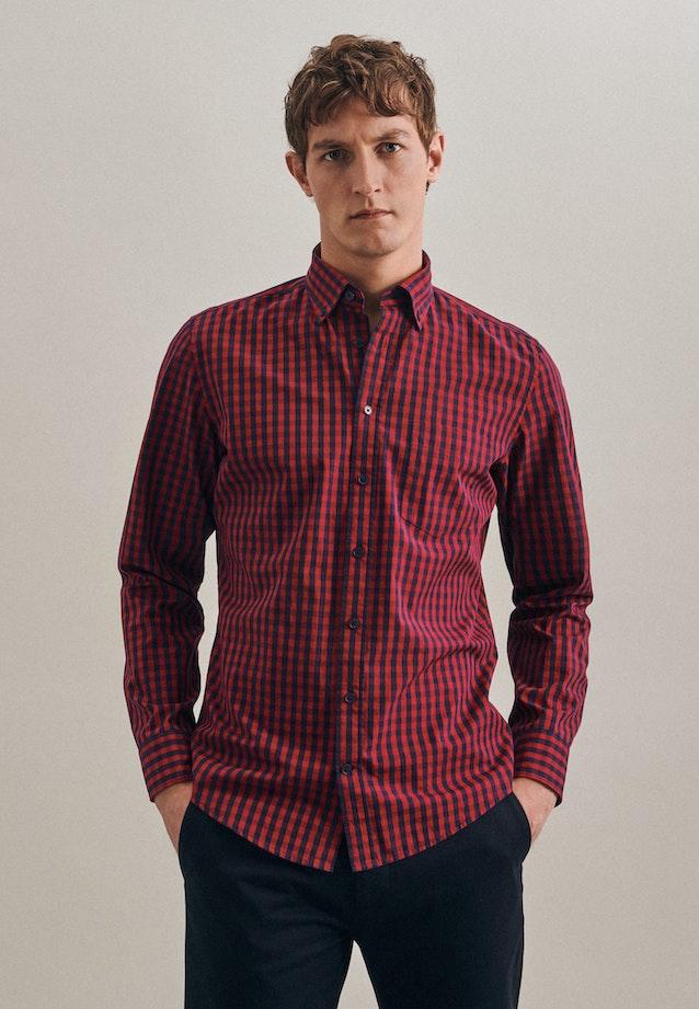 Bügelleichtes Popeline Business Hemd in Slim mit Button-Down-Kragen in Rot |  Seidensticker Onlineshop