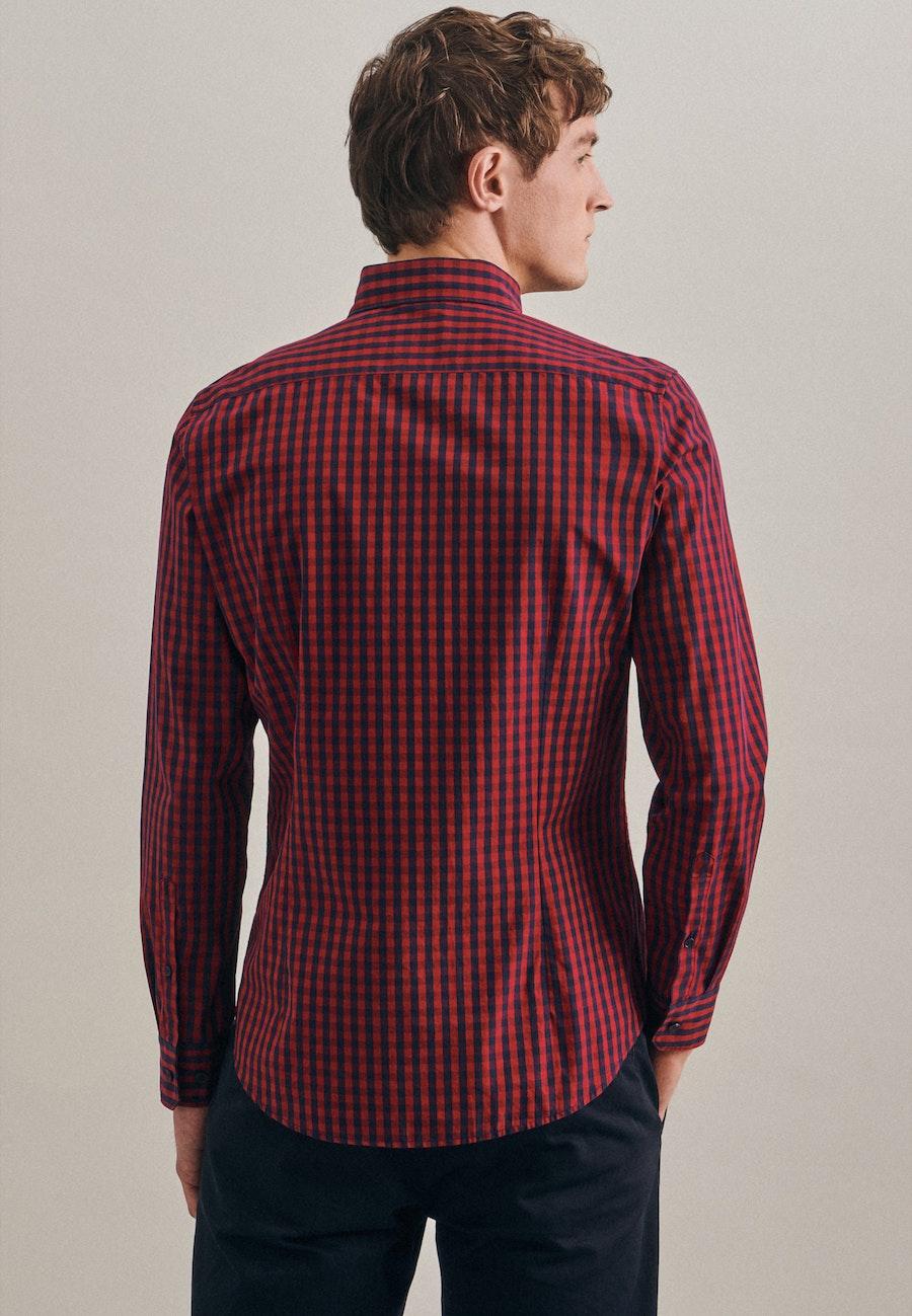 Easy-iron Popeline Business Shirt in Slim with Button-Down-Collar in Red |  Seidensticker Onlineshop