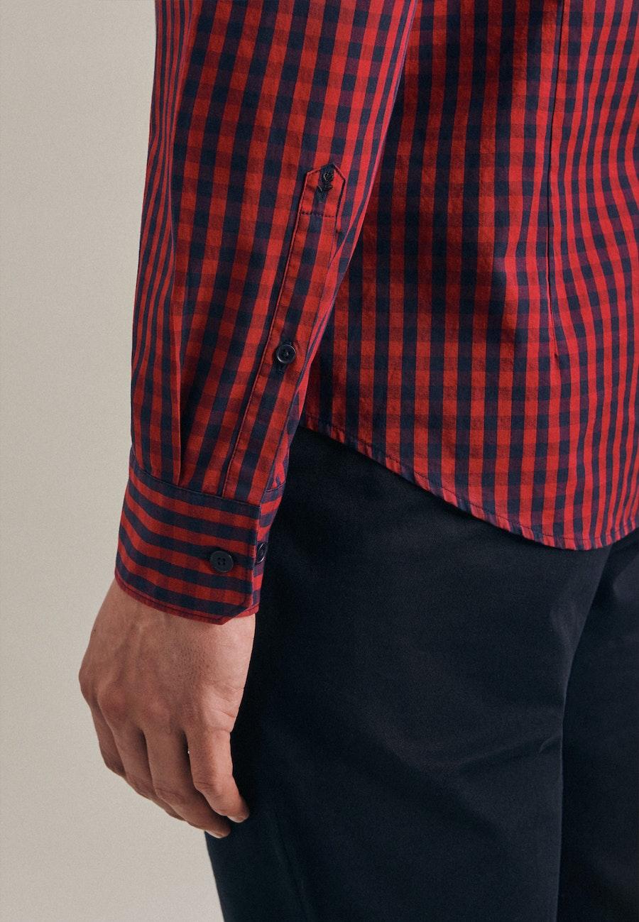 Poplin Business Shirt in Slim with Button-Down-Collar in Red |  Seidensticker Onlineshop