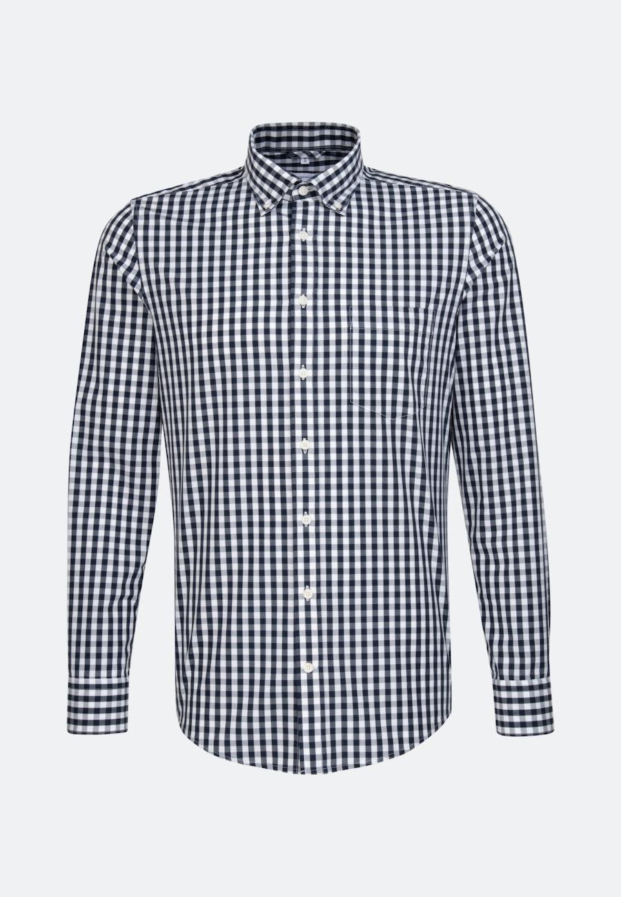 Easy-iron Popeline Business Shirt in Slim with Button-Down-Collar in Dark blue    Seidensticker Onlineshop