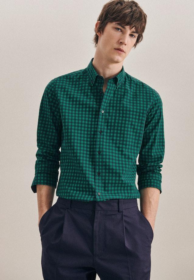 Bügelleichtes Popeline Business Hemd in Slim mit Button-Down-Kragen in Grün |  Seidensticker Onlineshop