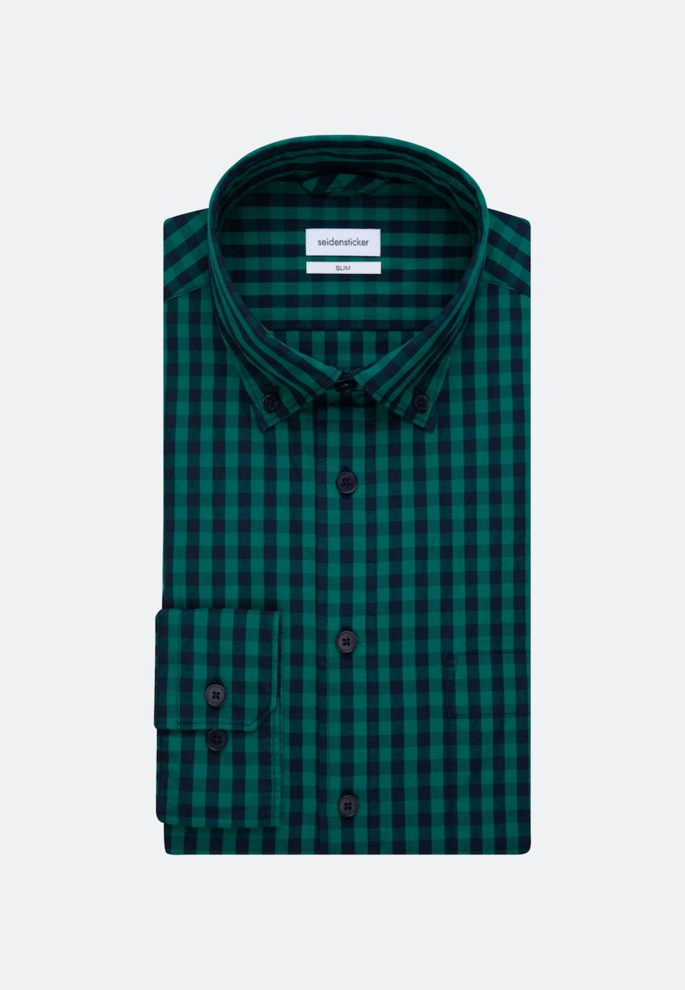 Bügelleichtes Popeline Business Hemd in Slim mit Button-Down-Kragen in Grün    Seidensticker Onlineshop